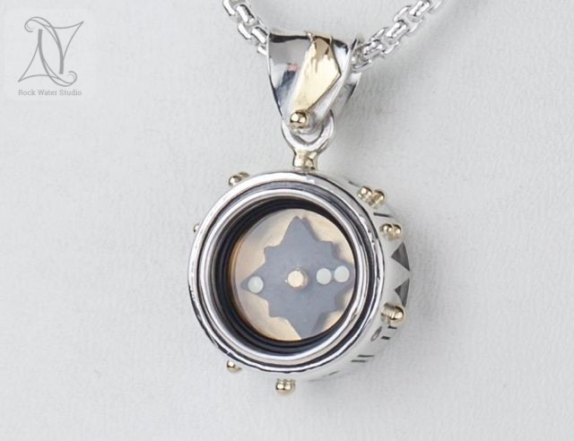 Silver Compass Pendant Gift for his wife (g497)