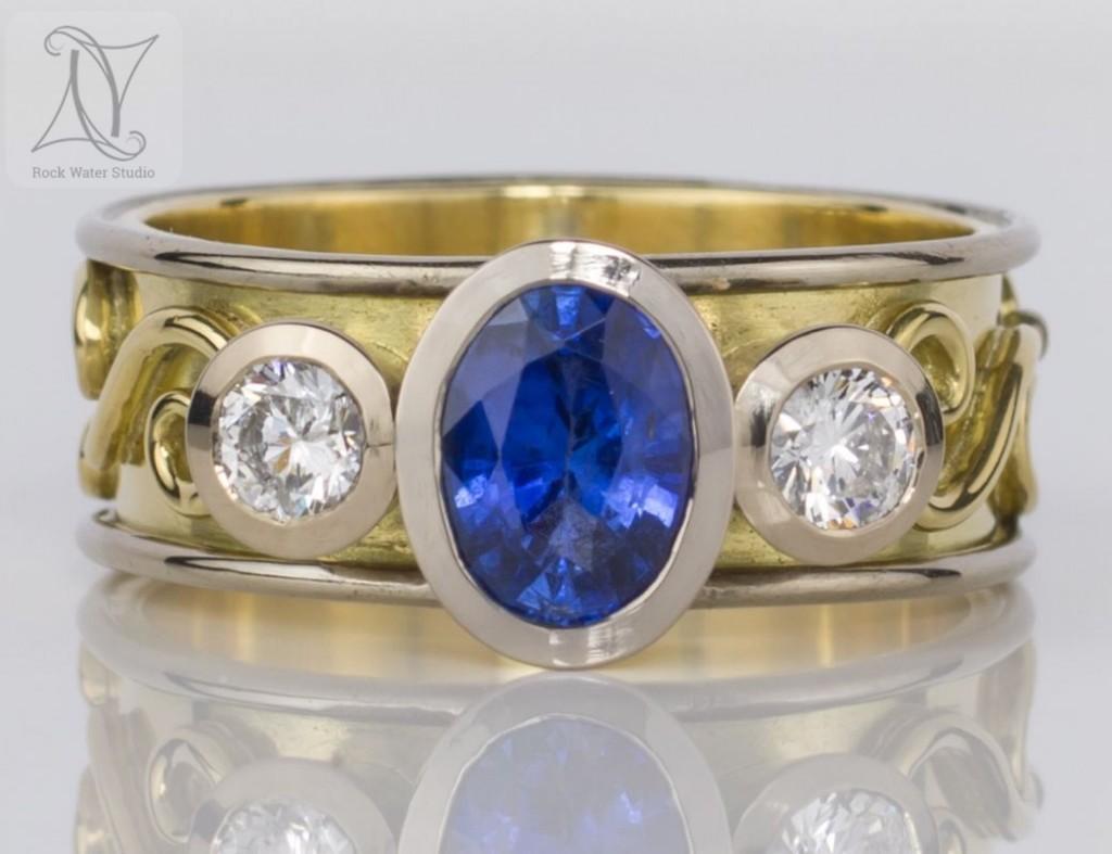 Custom Made Sapphire and Diamond Engagement Ring (g461)