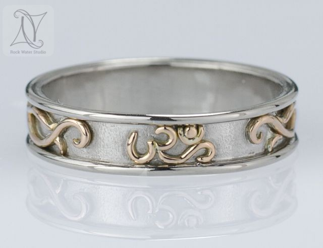 Handmade White Gold Wedding Ring with OM Symbol (g484)