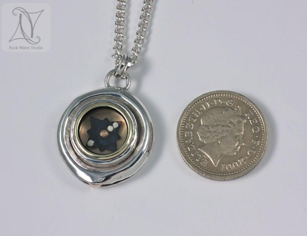 Sail Away Button Compass Necklace (g341)