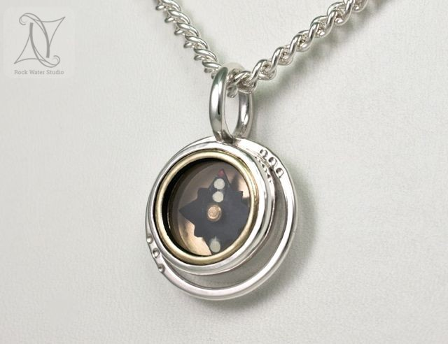 Halo Compass Necklace in Silver (g344)