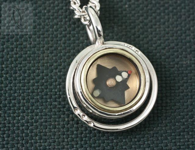 Halo Silver Compass Pendant (g344)