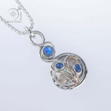Moonstone & Sapphire Compass Pendant (g498)