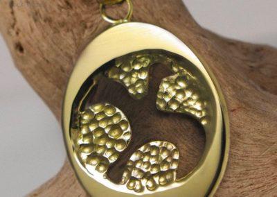 Handmade gold dove pendant (c123)