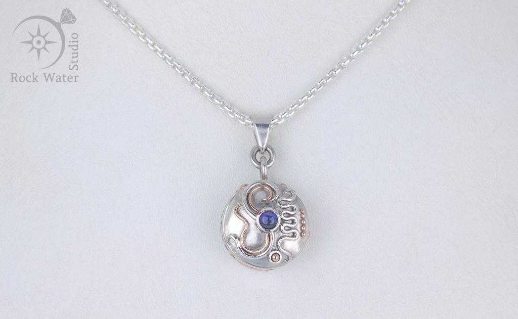Sapphire Meridian Compass Pendant (g499)