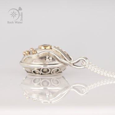 Handmade silver compass pendant gift for graduation (g506)