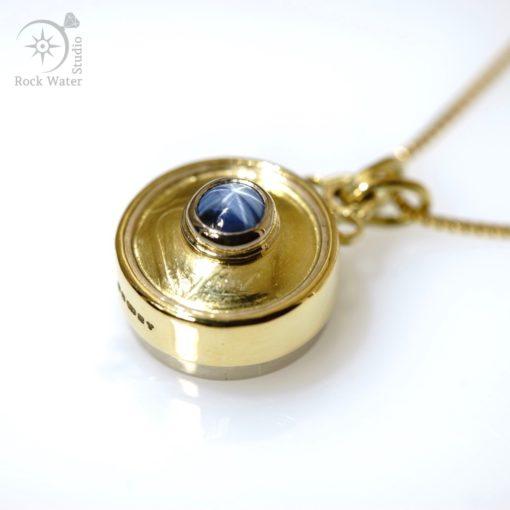 Blue Star Sapphire Gold Compass Pendant (g478)