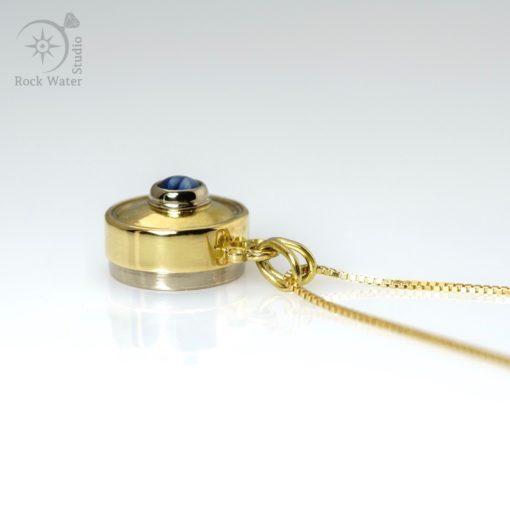 Handmade gold button compass pendant with blue star sapphire (g478)