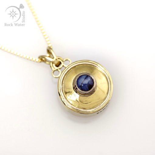 Blue Star Sapphire Gold Compass Necklace (g478)