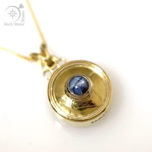 Blue Star Sapphire Gold Working Compass Pendant (g478)