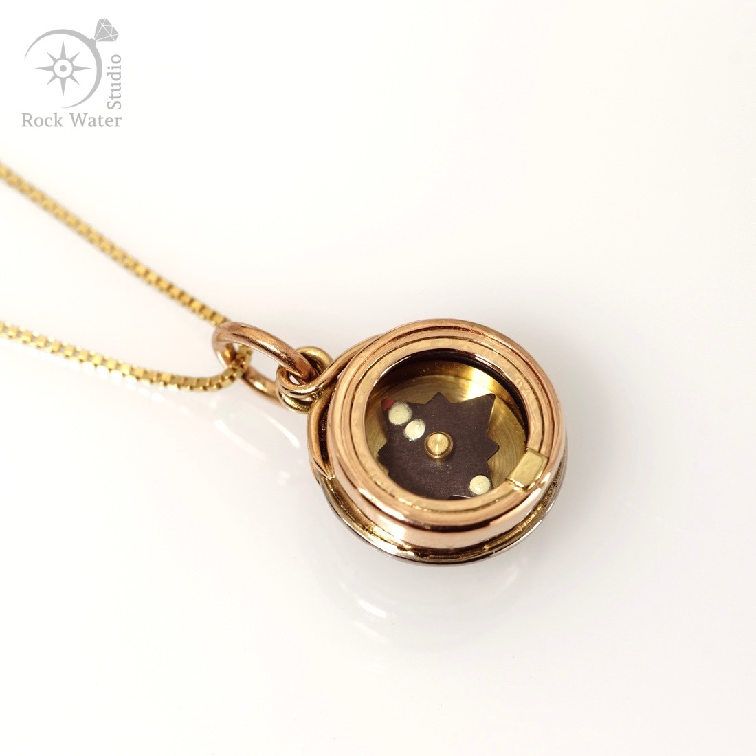 Gold working compass necklace gift with star sapphire black star sapphire gold working compass pendant g483 aloadofball Choice Image