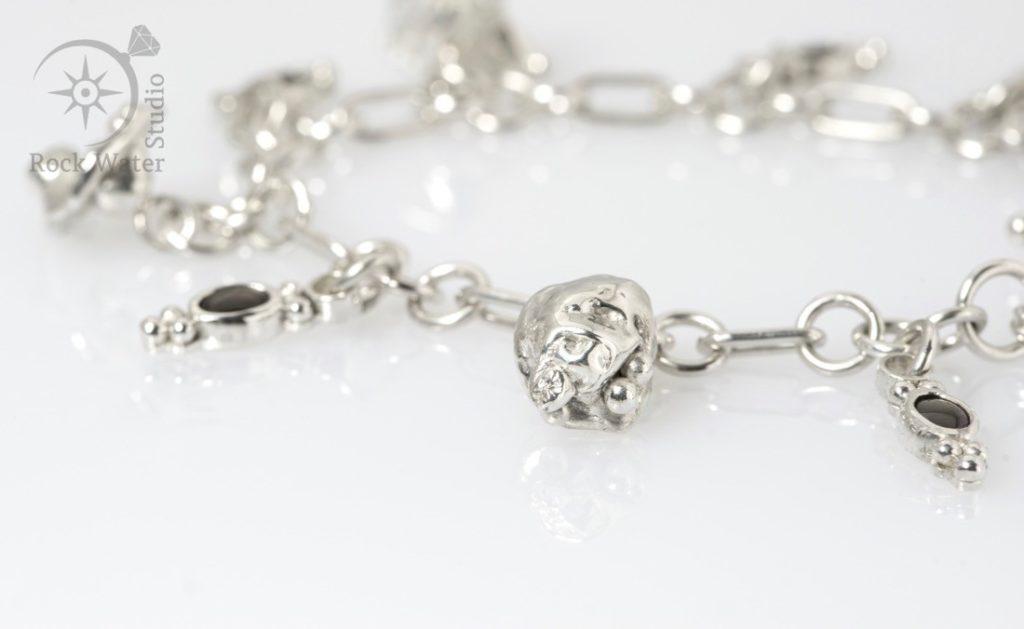 Handmade silver bracelet gift with black star sapphires (g519)