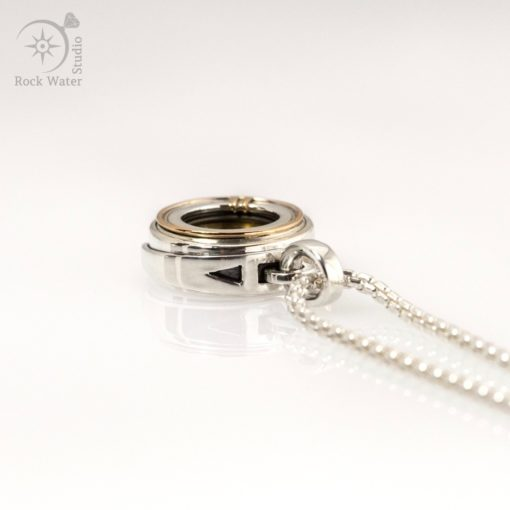 Silver Compass Necklace Gift with Gold Accents (g511)