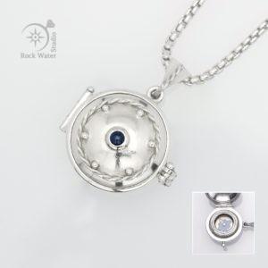 Sapphire Silver Compass Locket (g408)
