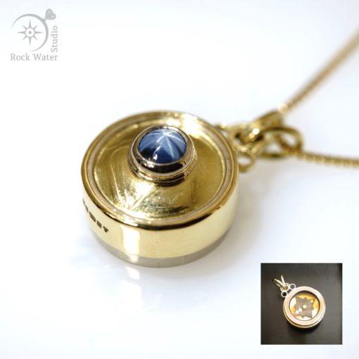 Blue Star Sapphire Working Gold Compass (g478)