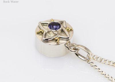 Blue iolite gemstone compass pendant gift (g538)