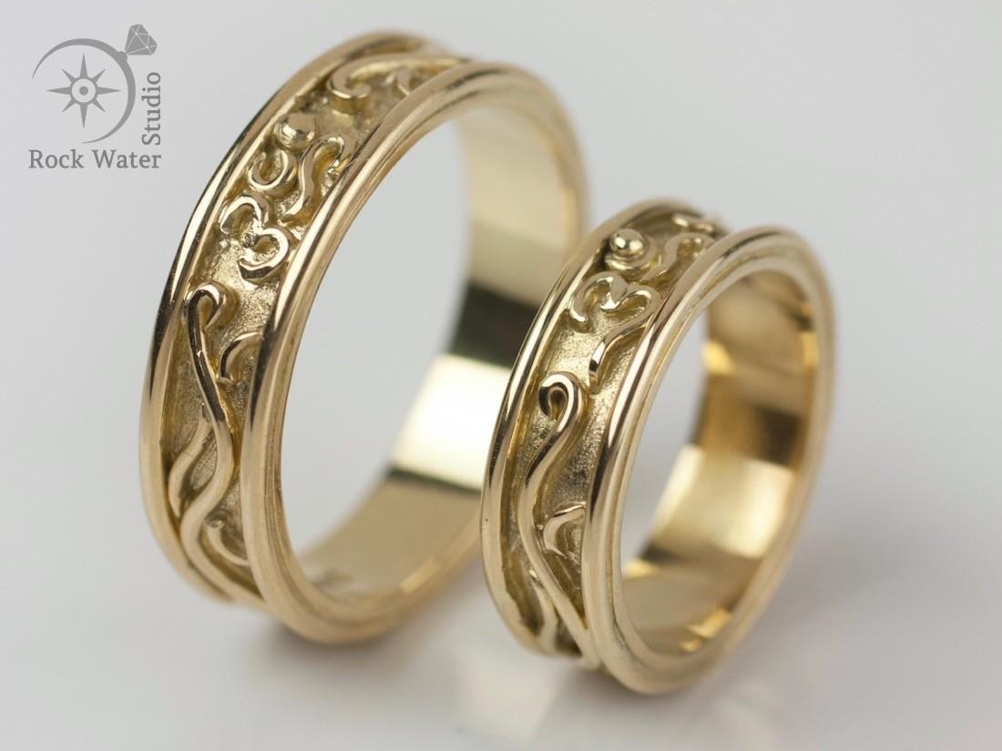 Handmade Gold Wedding Rings Pair (g383)