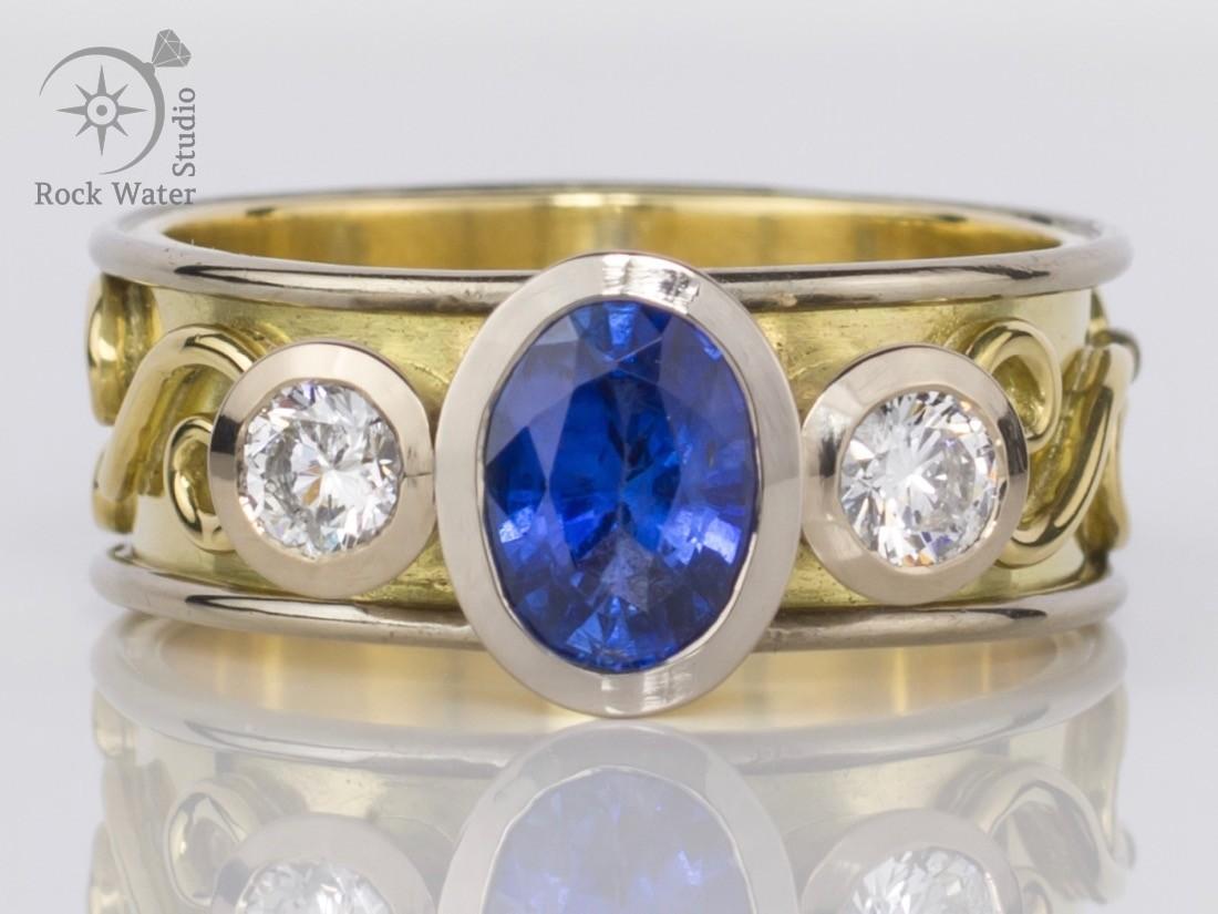 Handmade sapphire and diamond engagement ring (g461)