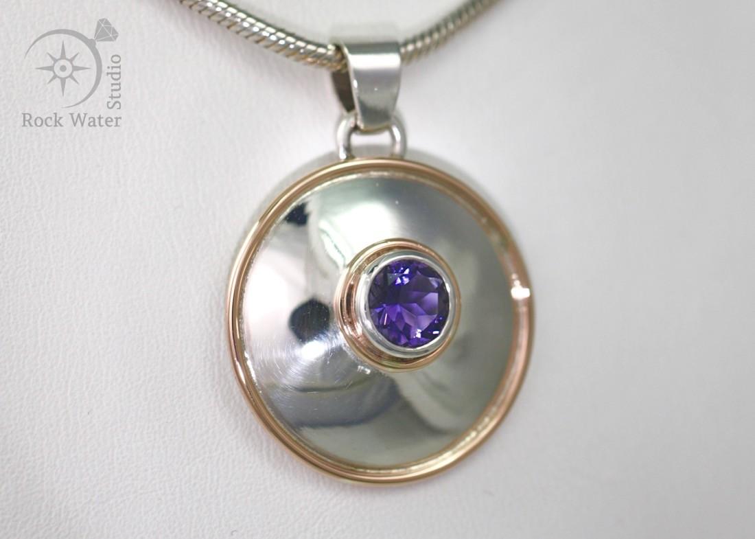 Iolite Lentille Silver Pendant (g318)