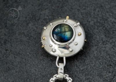 Labradorite Silver Compass Necklace G548