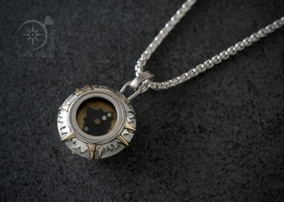 Francis Barker Working Compass Pendant in Silver and Gold (g548)