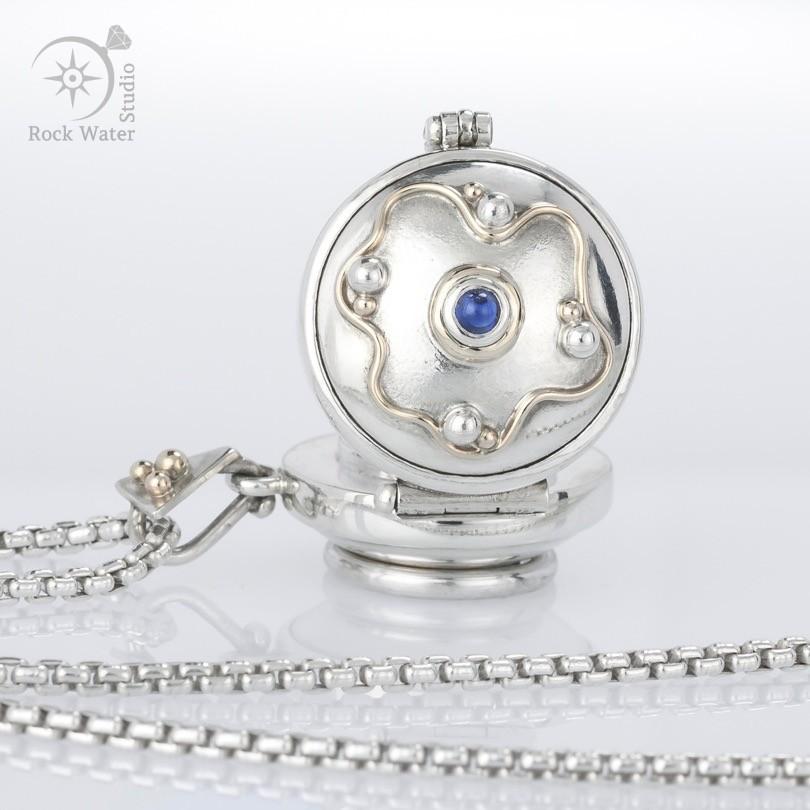 Sapphire silver compass locket (g410)