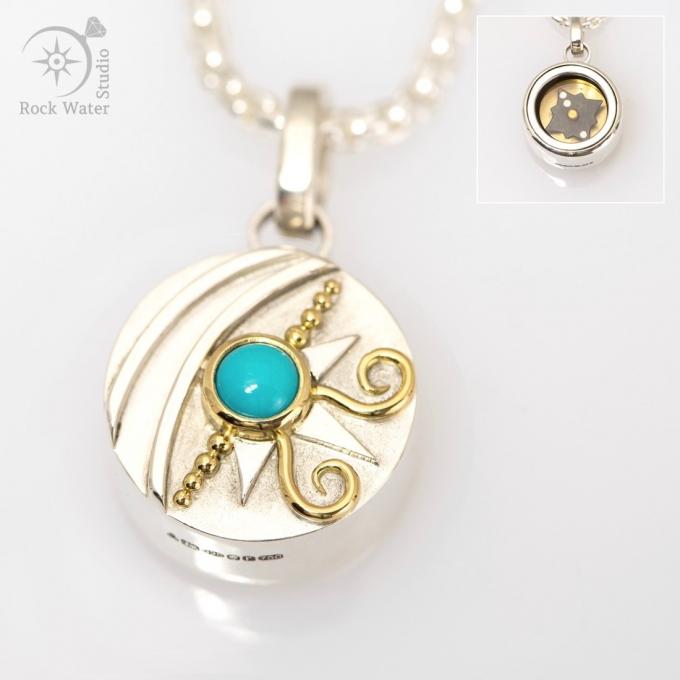 Turquoise Talisman Compass Pendant (g536)